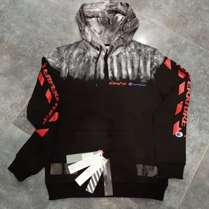 OFF-WHITE MENS COTTON BLACK HOODIES SWEATSHIRT